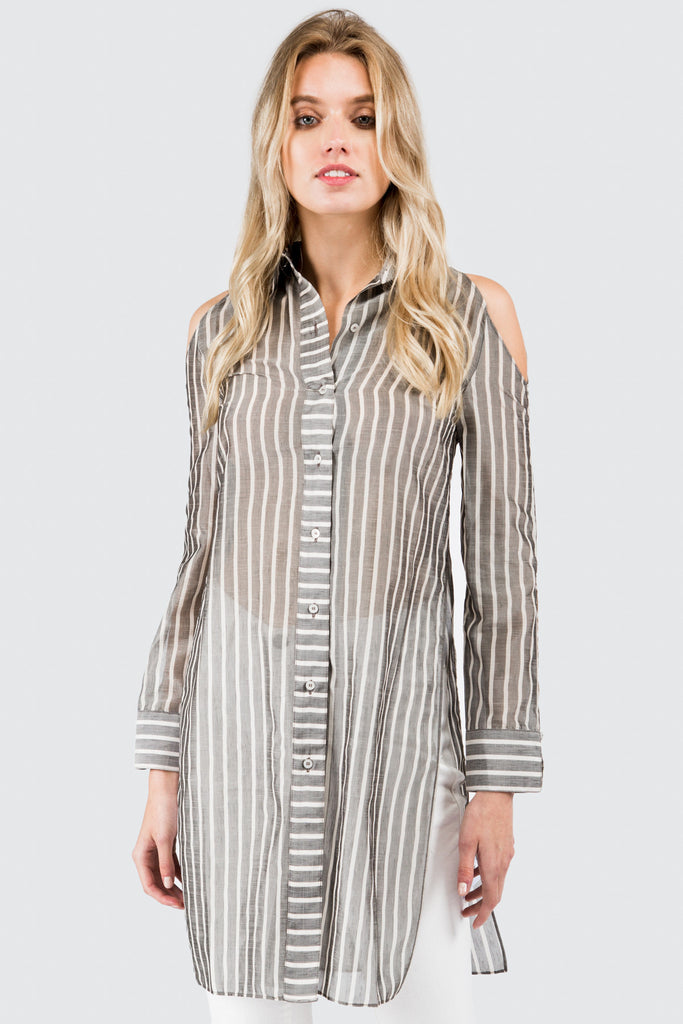 Grey Stripe Cold Shoulder Tunic