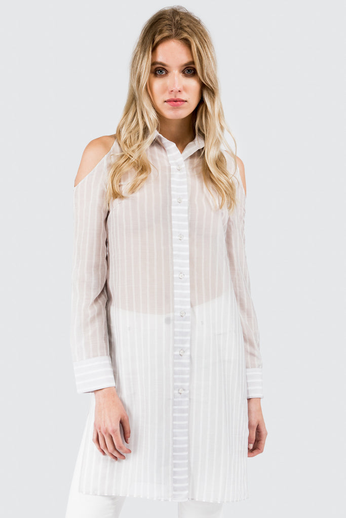 White Stripe Cold Shoulder Tunic