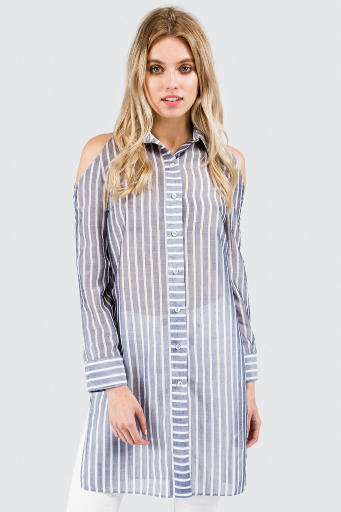 Blue Stripe Cold Shoulder Tunic