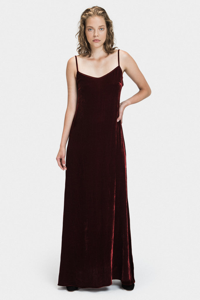 LONG VELVET DRESS IN BURGUNDY - FRANKIE