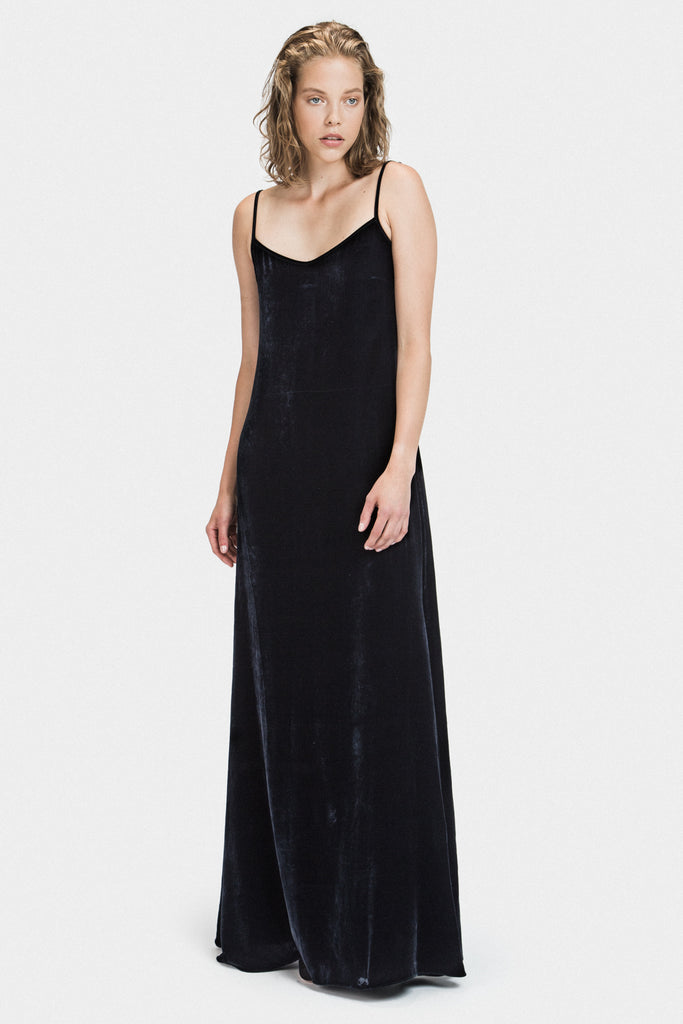 LONG VELVET DRESS IN MIDNIGHT - FRANKIE