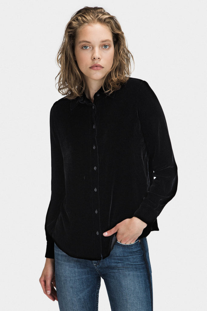 VELVET COLLAR LOOSE FIT SHIRT IN BLACK - FRANKIE