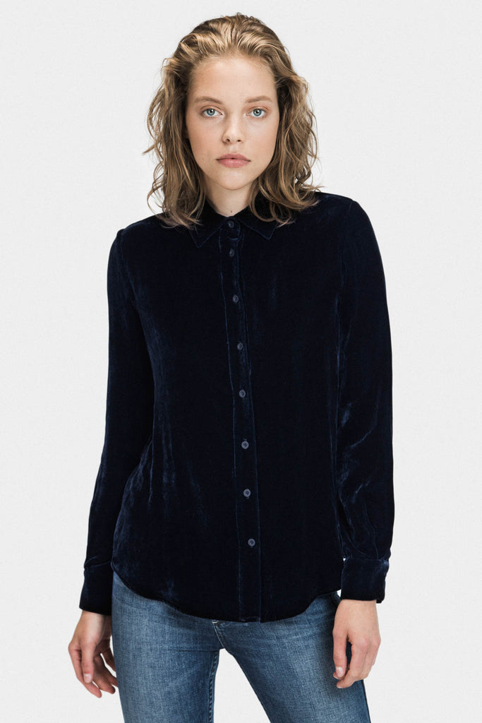 VELVET COLLAR LOOSE FIT SHIRT IN MIDNIGHT - FRANKIE