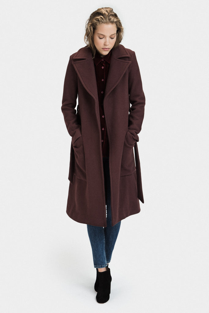 LONG WOOL COAT IN BURGUNDY - FRANKIE