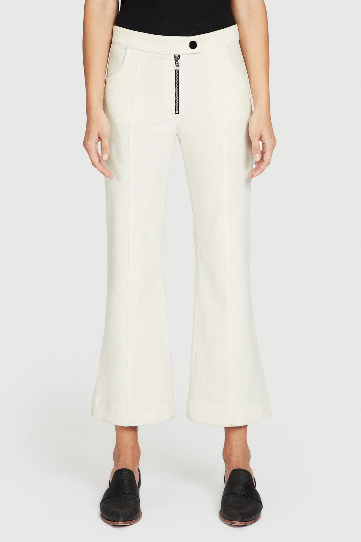 Off White Corduroy Cropped Flare Pant