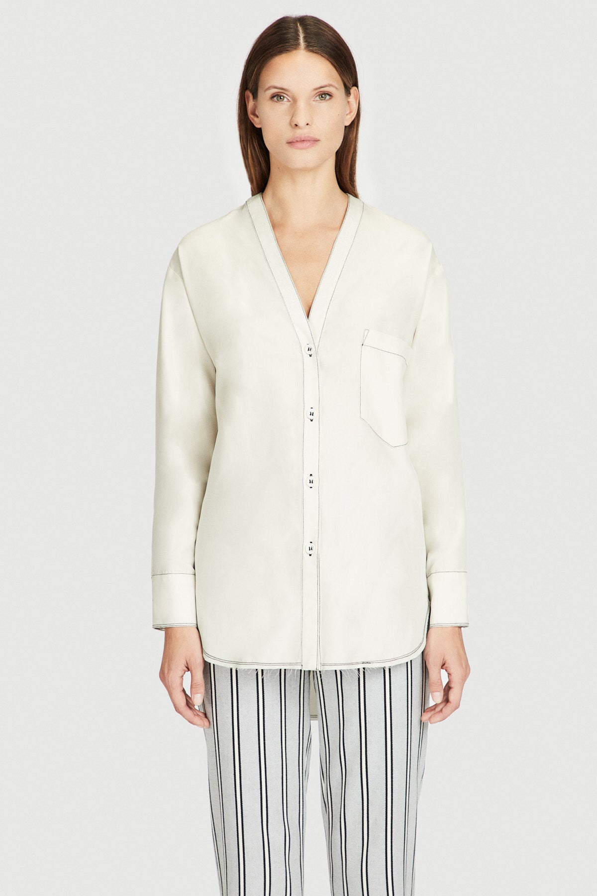 Off White Modal Contrast Stitch V-Neck Shirt