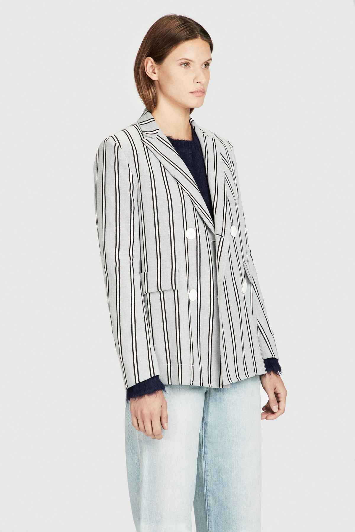 Striped Double Breasted Boyfriend Jacket