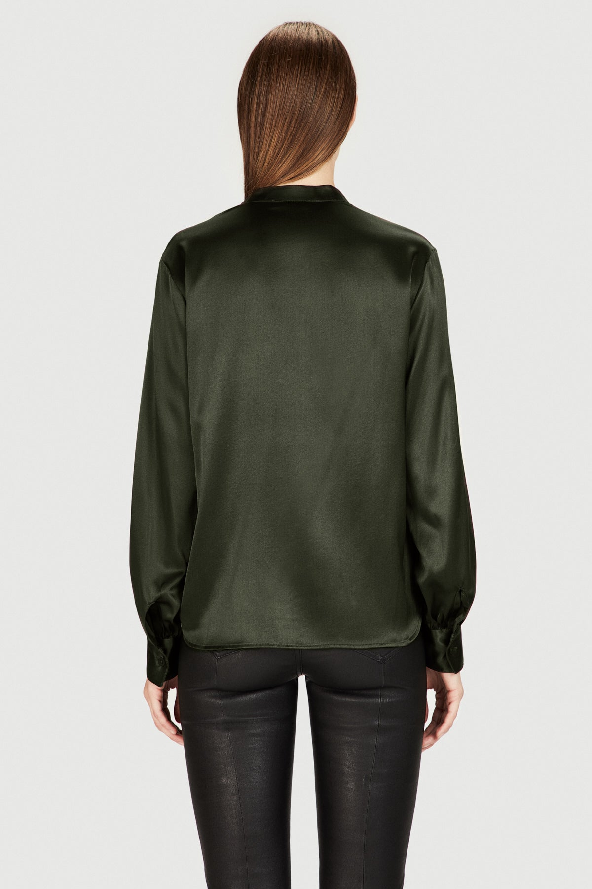Silk Oversized Sleeve Blouse in Olive