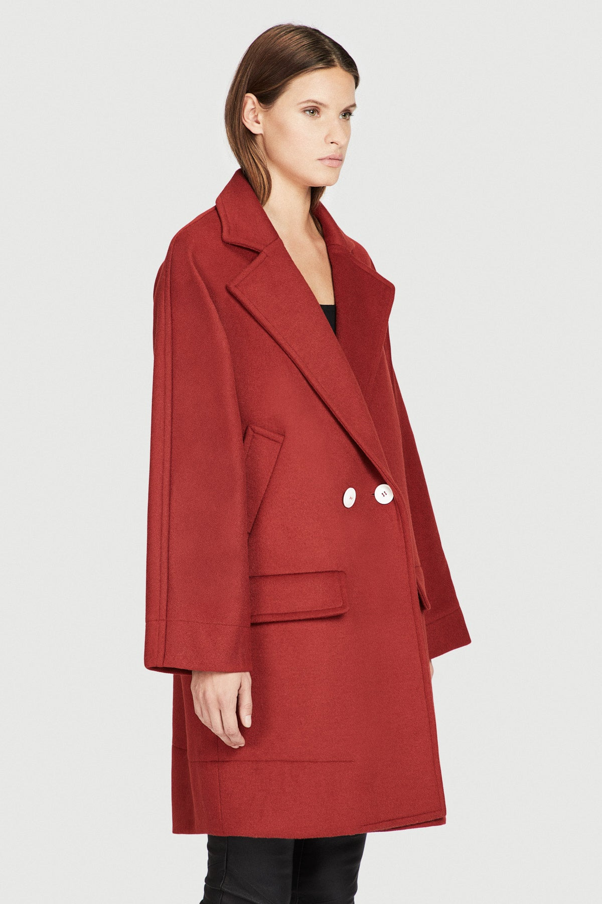 Red Double Wool Slouchy Overcoat