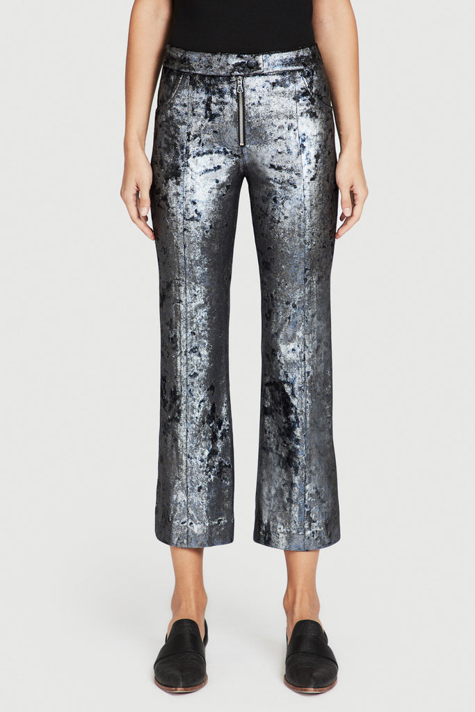 Silver Crushed Velveteen Flare Pant