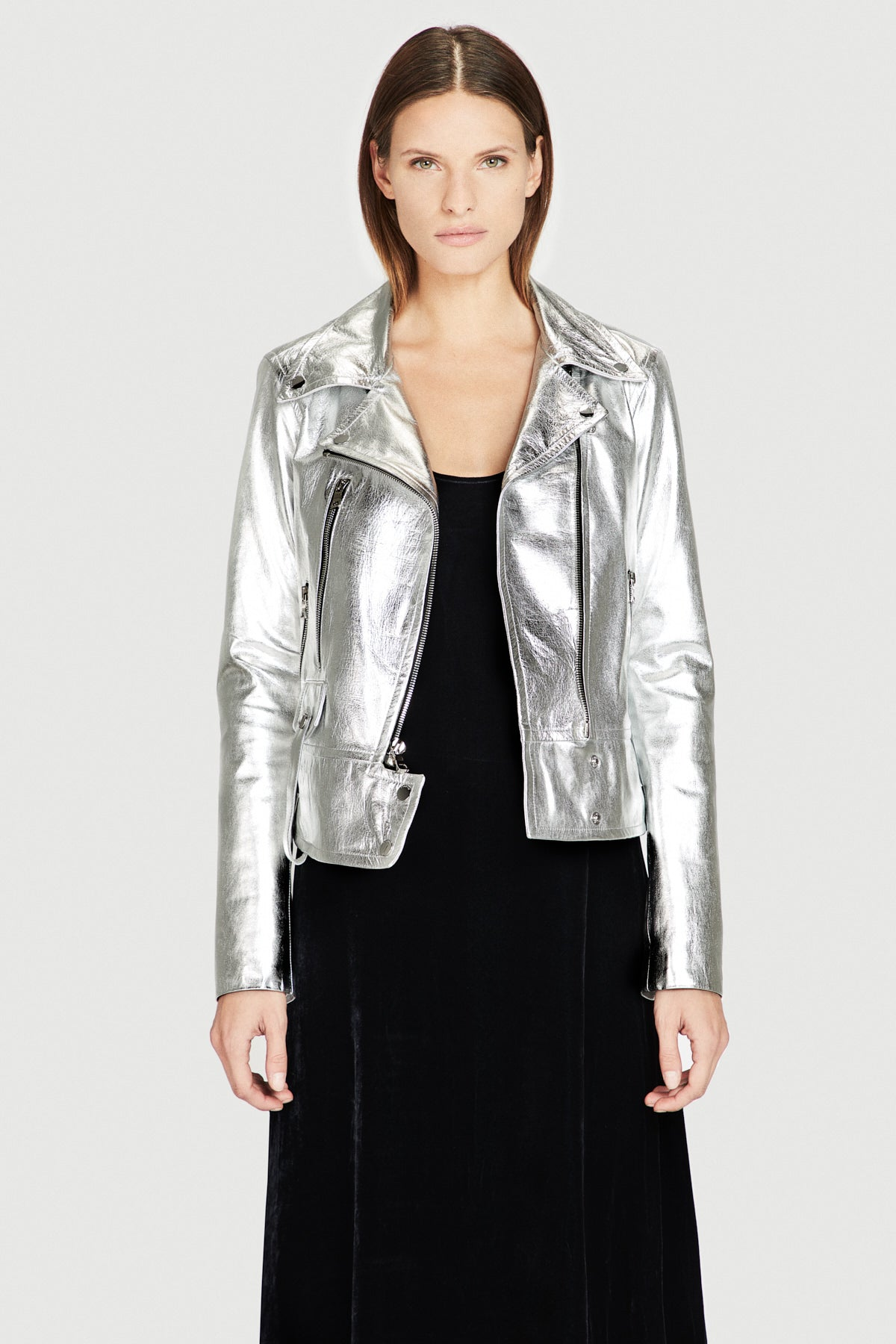 Leather Moto Jacket in Silver