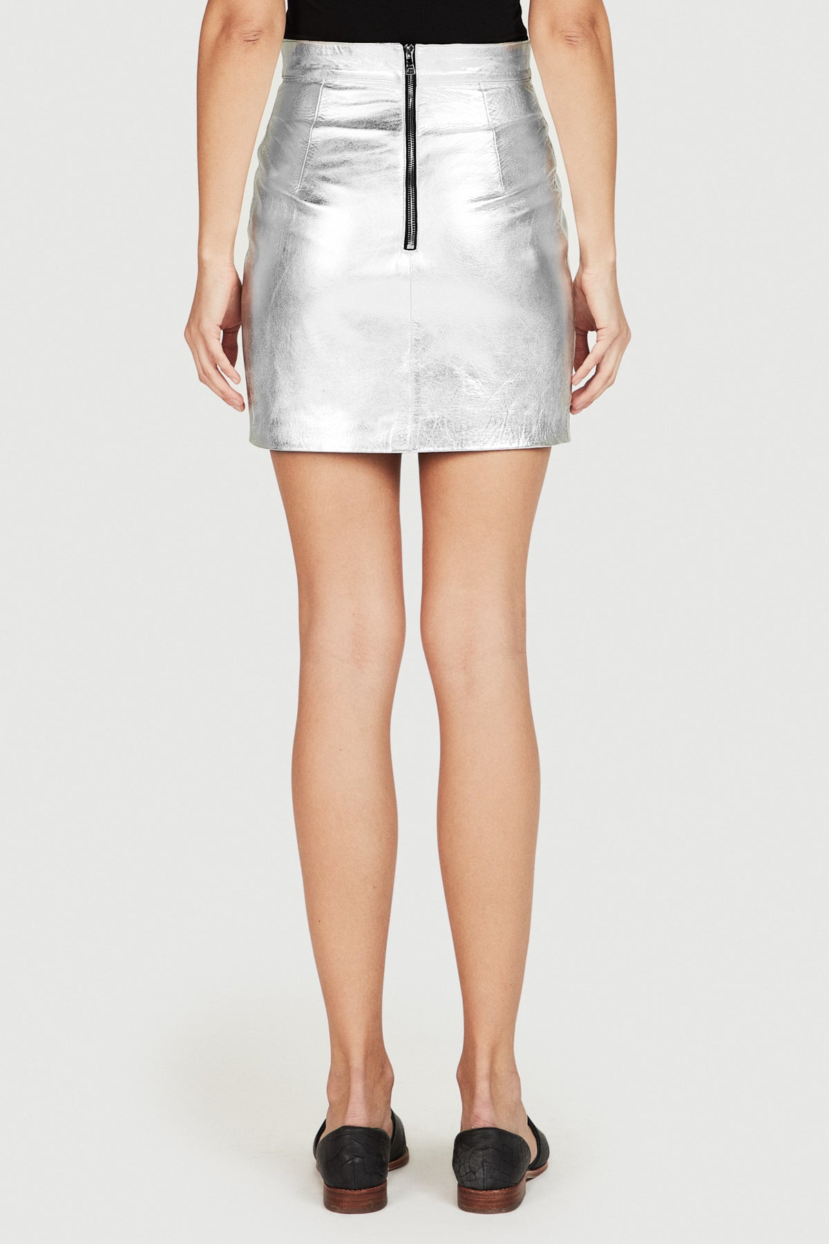High Waist Leather Skirt in Silver