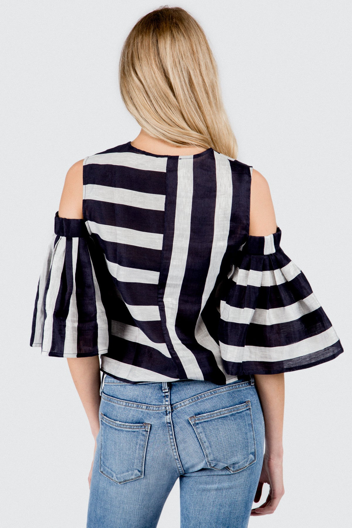 Navy Grey Stripe Cold Shoulder Blouse With Pleat Sleeve
