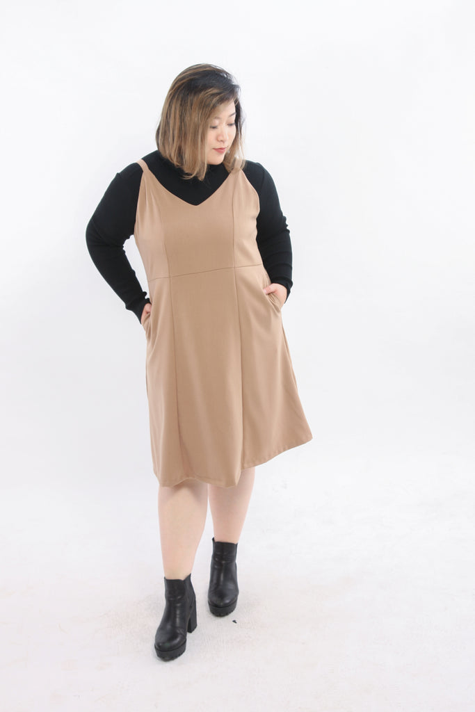 Brown Pocket Cami Dress
