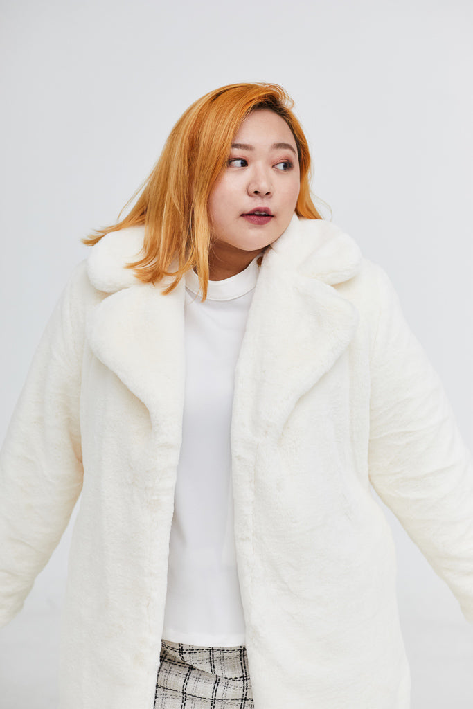 Faux Fur Coat In White