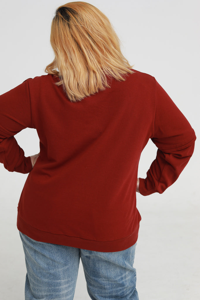 Sweatshirt in red with ruffle details
