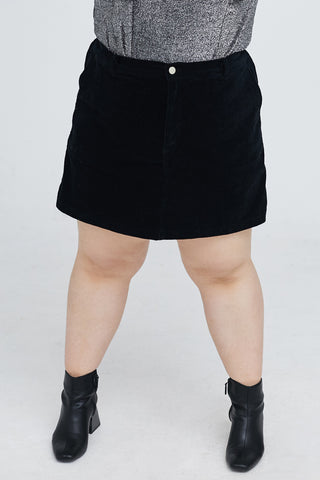 Cord Culotte Skirt In Black