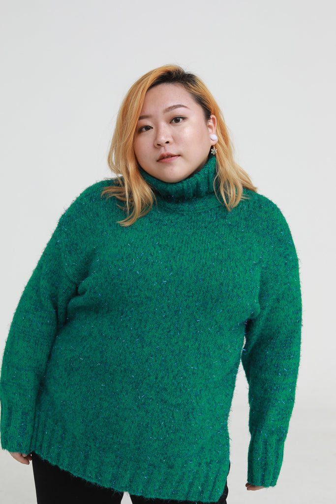 Sparkle turtleneck jumper in green