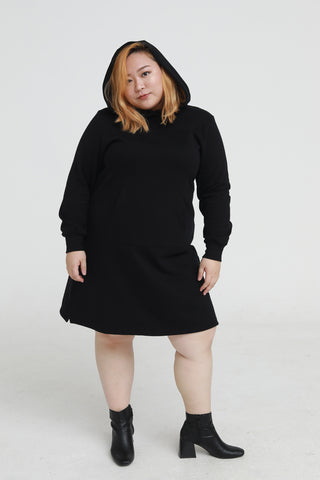 Hoodie sweat dress in black