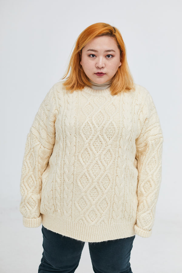 Oversized Longline Cable Knitted Jumper In White