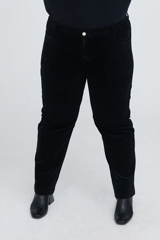 Cord Straight Leg Trousers In Black