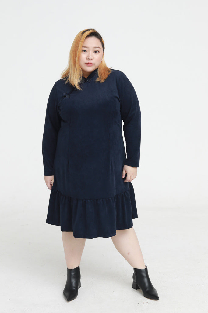 Mandarin Collar Suede Dress In Blue With Ruffle Hem