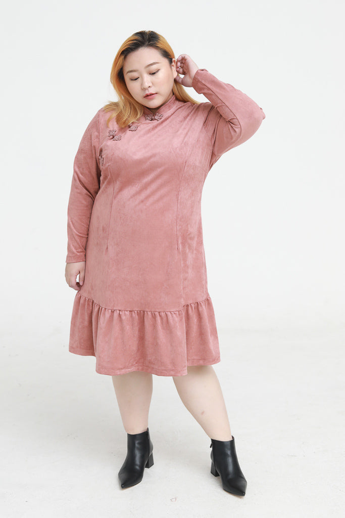 Mandarin Collar Suede Dress In Pink With Ruffle Hem
