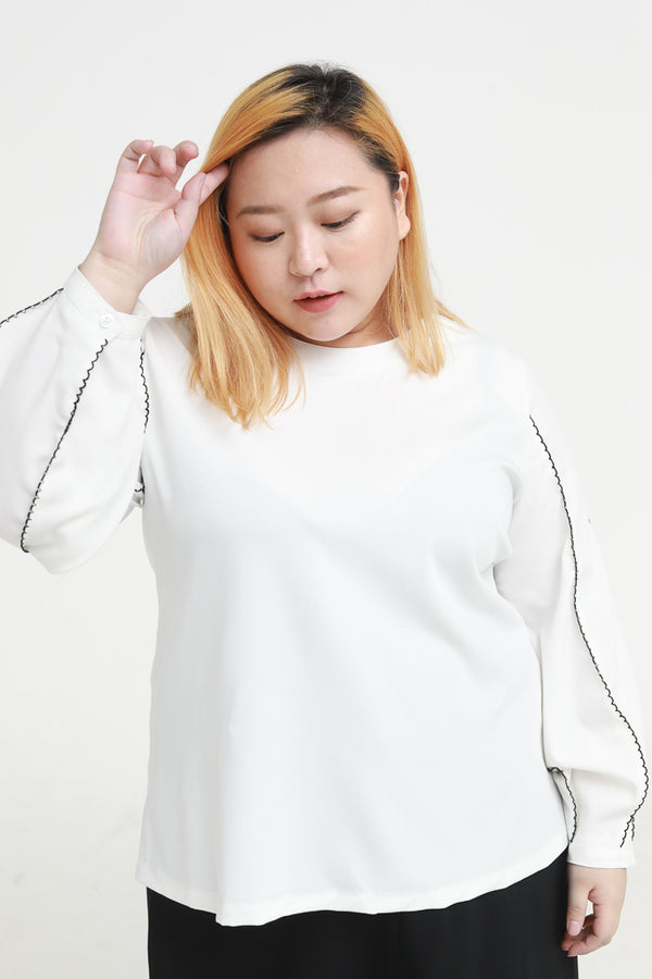 Balloon Sleeves Blouses In White