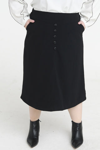 Button Front Midi Skirt In Black