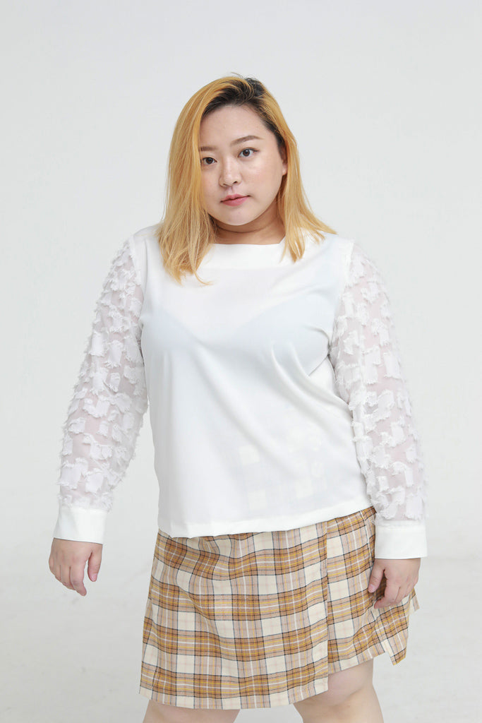 Square Neck Blouse In White