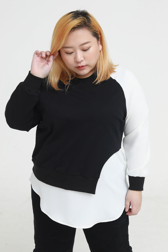 Black And White Colour Block Sweatshirt