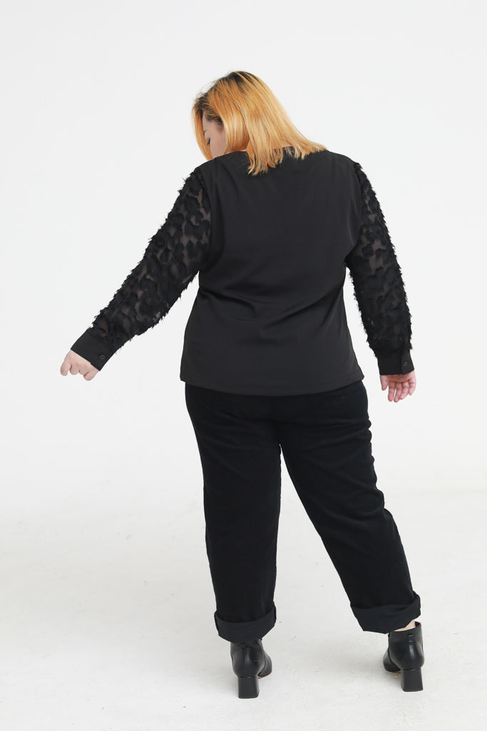 Square Neck Blouse In Black