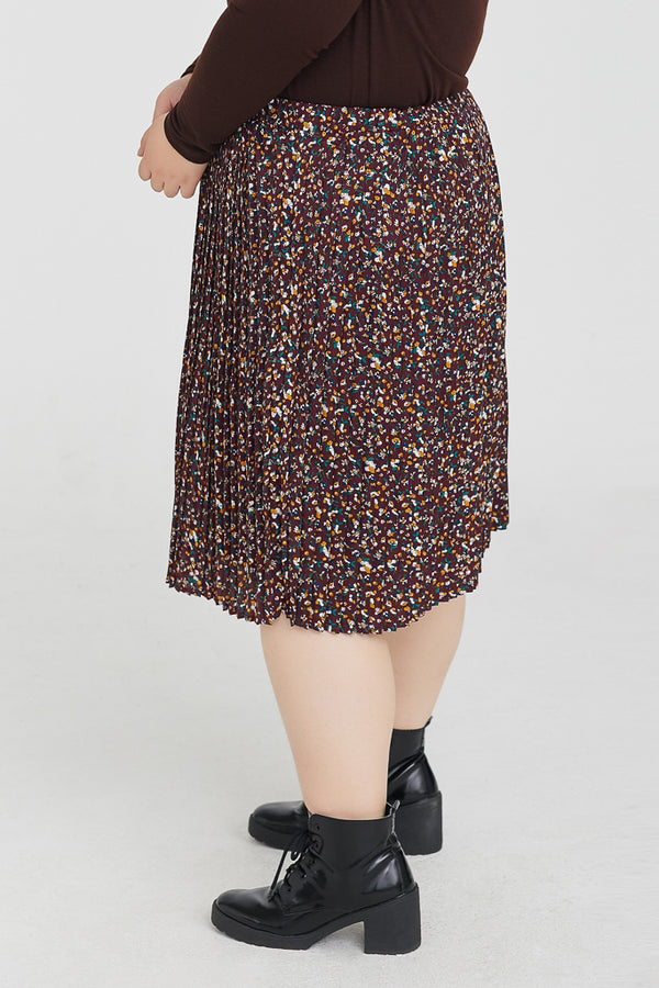 Floral Pleated Skirt In Brown