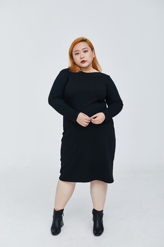 Black Boat Neck Ribbed Dress