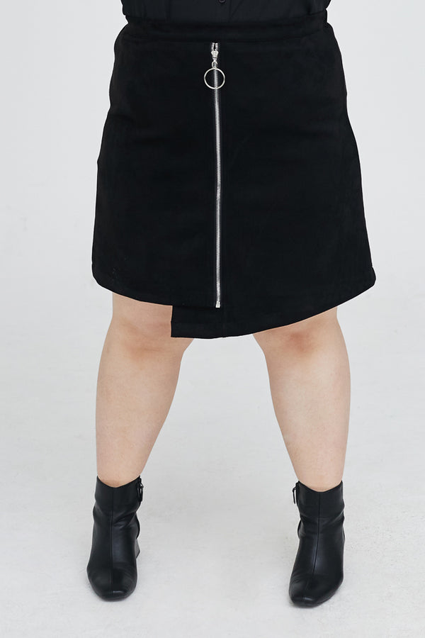Suedette Skirt With Zip Details
