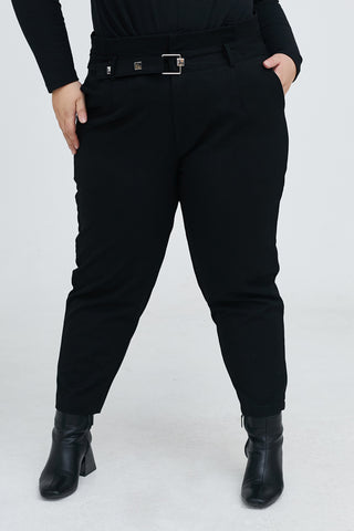 Button Detail Straight Leg Trouser