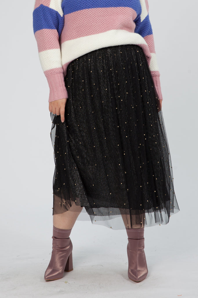Tulle Midi Skirt with Embellishment