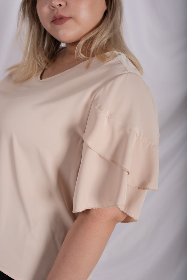 V-Neck Double Layer Ruffle Sleeves Blouses In Beige
