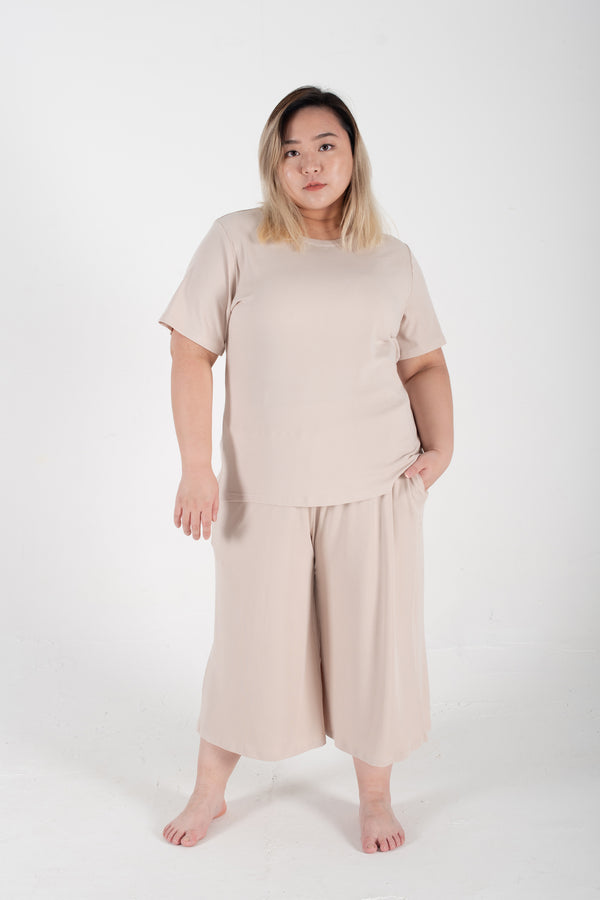 Ribbed Wide-Leg Trousers In Beige