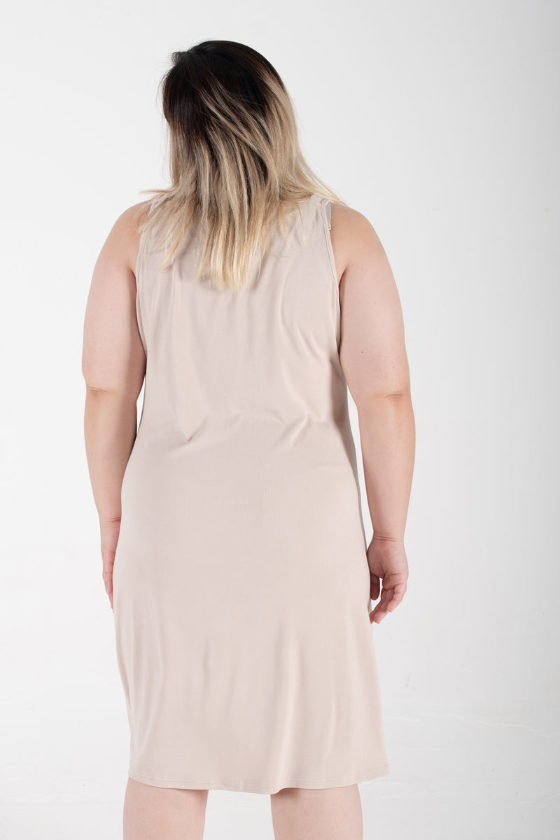 Ribbed Vest Dress In Beige