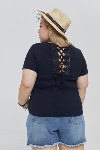 Lace Back Ribbed Top In Black