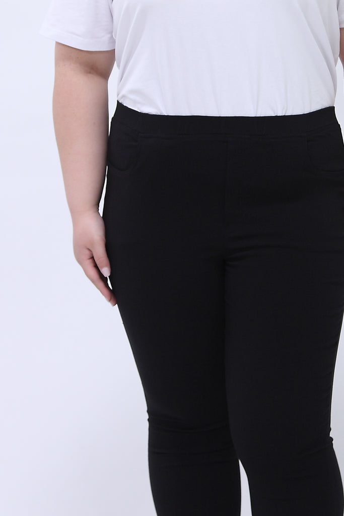 Skinny Jeggings With Elasticated Waist In Black