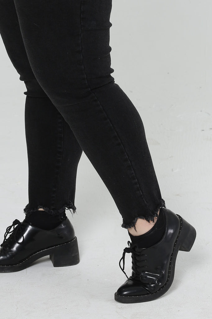 Super Skinny Jeans In Black With Ripped Details