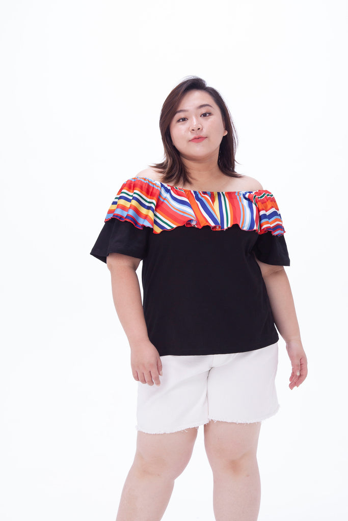 Black Off Shoulder Top In Rainbow Ruffle Detail