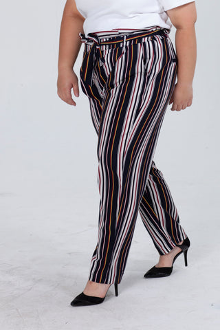 Tie Waist Tapered Trouser In Stripe Print