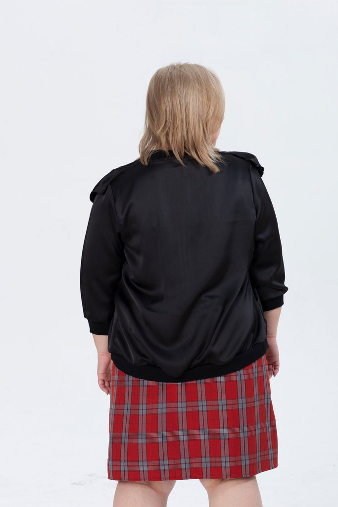 Ruffle Details Jacket In Black