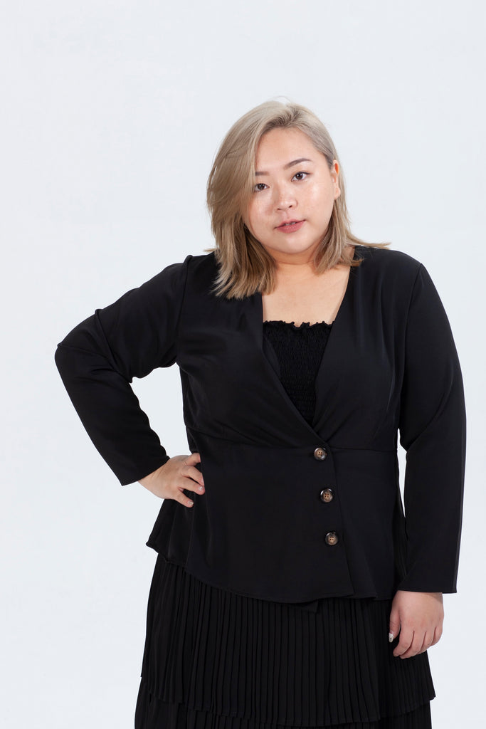 Button Detail Wrap Top In Black