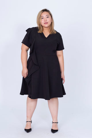 V-Neck Dress In Black With Ruffle Detail