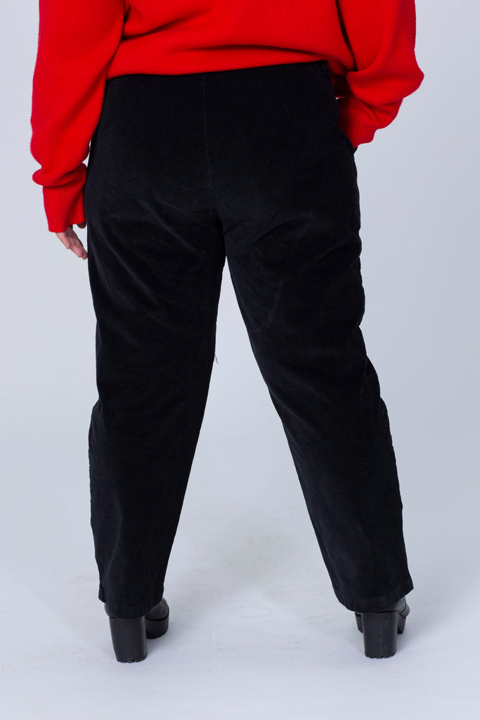 Cord Trousers In Black