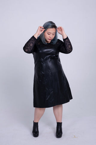 PU Leather Dress With Lace Sleeves
